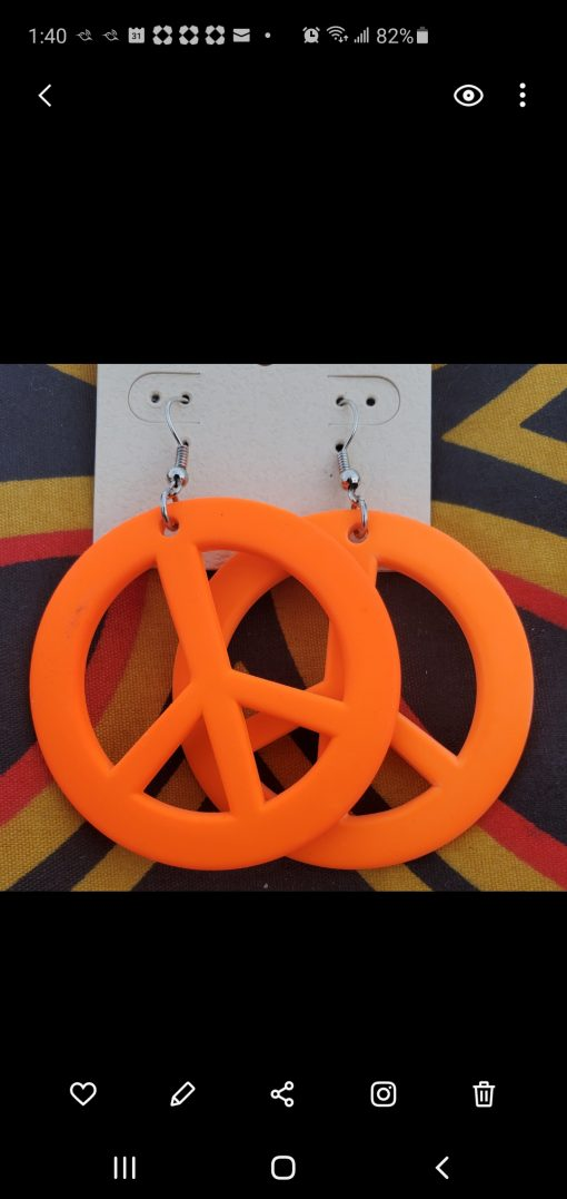 peace-sign-earrings-orange-costume-jewelry-brides-by-tina