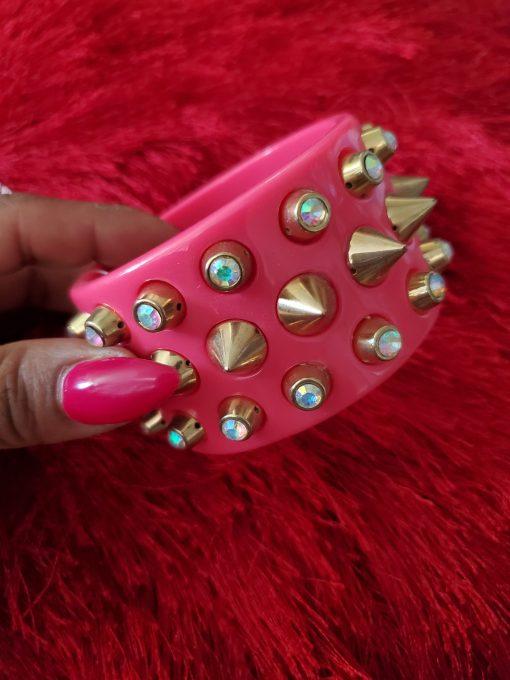 pink-gold-spiked-bracelet