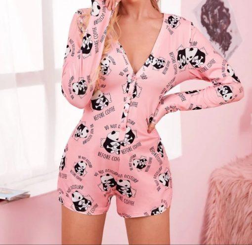 Pink Panda Cotton Romper