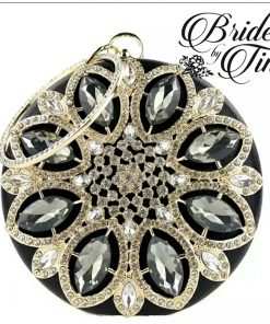 Circle Jeweled Purse Black