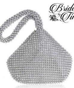 Silver Jeweled Tear Drop Purse