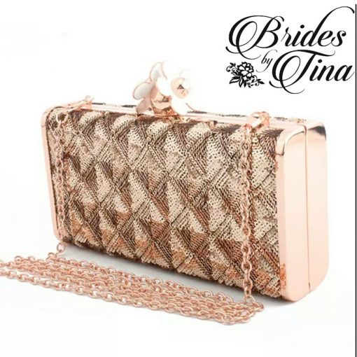 Gold Rectangle Jeweled Wedding Clutch Purse