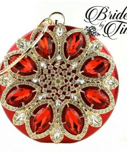 Red Jeweled Circle Purse