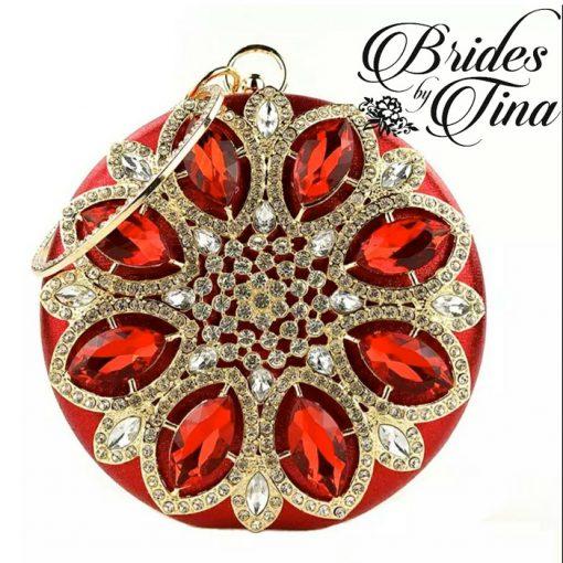 Red Jeweled Circle Purse